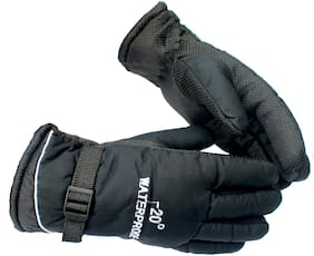 AlexVyan Black -20 Imported Snow Proof(Fur Inside) Warm Winter Protective Riding Gloves for Cycling Byke Bike Motorcycle for Men Boys Male Gents