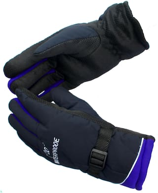 AlexVyan Blue -20 Imported Snow Proof(Fur Inside) Warm Winter Protective Riding Gloves for Cycling Byke Bike Motorcycle for Men Boys Male Gents