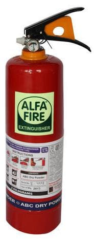 Alfa Fire ABC Powder Type Portable Multipurpose Fire Extinguisher Capacity 2kg Best for All Types of Fire Red