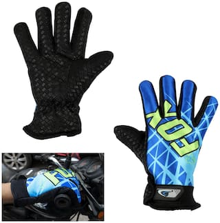 AllExtreme EXFF2BB1 Anti-slip Nylon full Finger Unisex Gloves For Weight Lifting, Riding, Fitness & Outdoor Activity (Blue, Universal)