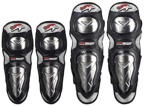 AllExtreme Stainless Steel Pro Biker Knee and Elbow Guards, Set of 4, Ultimate Quality Racing Knee/Shin Motorcycle Riding Knee and Elbow Guard