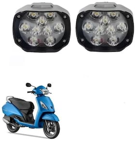 AllXPert 9 LED X 2 Motorcycle Headlight Fog Light Led e-Bike Scooter ATV Motor Headlight Lamp For Bajaj Avenger For TVS Jupiter