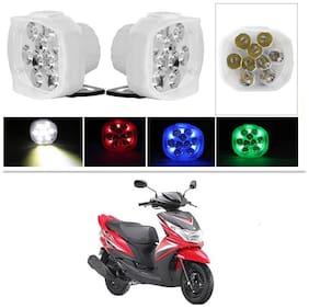 AllXPert 9 LED Fog Light with Red Green Blue Beads Waterproof White Spot Beam Driving Lamp for Yamaha Ray Z