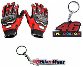 Almos Combo Pack For Probiker XXL Gloves With Doctor 46 & Bikenwear Key Chain