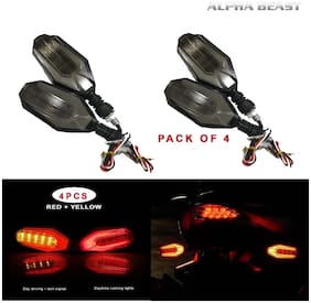 ALPHA BEAST U Shape Dual Color DRL Indicator Light for universal for all bikes Set of 4
