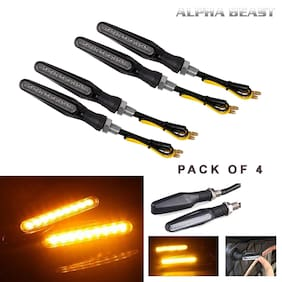 ALPHA BEAST KTM Style Sleek Amber Led Turn Signal Indicator Motorcycle DRL/Turn Signal Light Pack of 4 (Orange)