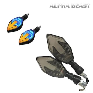 ALPHA BEAST Arrow Shaped Dual Color DRL Indicator Light for universal for all bikes Set of 2 (Blue &Orange)