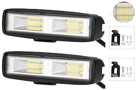 "Andride 16 LED 6 inch 32W 6"" Flood Led Work Light Bar Black for Off-Road SUV Boat 4Wd Ute ATV Jeep Fog Driving Truck (2Pc)"