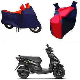 Andride ADTBC112 Bike Body Cover (Red and Blue) for Suzuki Let's