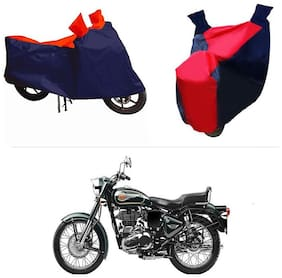 Andride ADTBC112 Bike Body Cover (Red and Blue) for Royal Enfield Twin spark