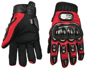 Andride Probiker Leather Motorcycle Gloves Red (L)