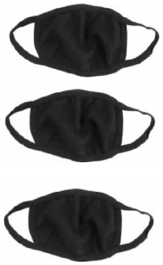 Anti-Pollution Dust Cotton Unisex Mouth Mask  and Respirator (Pack of 3) Black