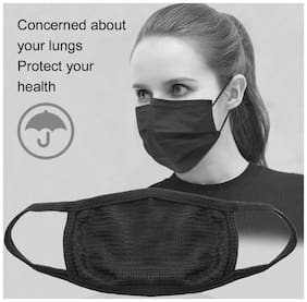 MARKETWALA Anti-Pollution Dust Cotton Unisex Mouth Mask,Black (Pack of 2)