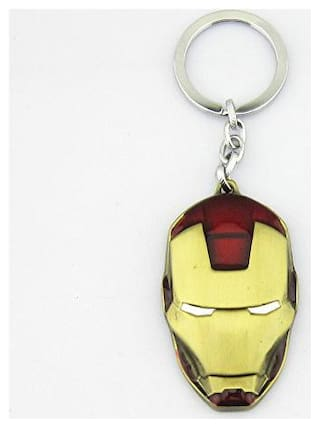 Antic Iron man Face Gold - Red  Mask Metal Keychain ( Gold - Red )