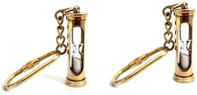 Antique Nautical Brass Sand Timer Hourglass Keychain - Set of 2
