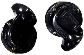AOWBIKES Midnight Black Twin Torn Horn 12v, 410/490Hz High Sound Pack of Two For CarS