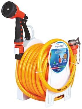AquaHose Household Water Hose Reel Orange 15m (12.5mm ID) Hose Pipe
