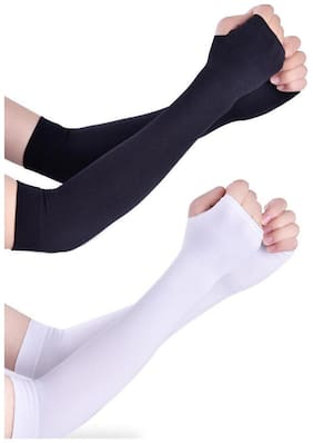 Arm Sleeves Black End White 2 Pairs