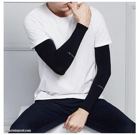 Arm Warmer wristlet cool UV outdoor cycling (Black)