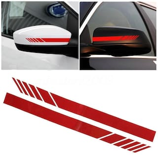 ARWY Car Rearview Mirror Strip Sticker Vinyl Racing Decal Emblem (Red) For Ford EcoSport