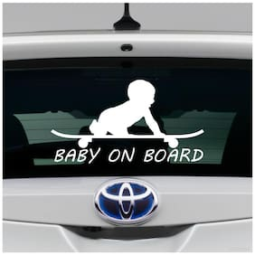 ARWY car stickers exterior sketing baby on board car stickers for window, sides, hood, bumper car stickers(White)