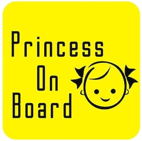 ARWY car stickers exterior Baby On Board, Background Yellow, Princess, Windows, Car Sticker (Pack of 2 Stickers)