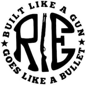 ARWY pack of 2 RE Like a gun Black STICKER DECAL STICKER for Royal Enfield BULLET/BIKE STICKER (11.5 Cm X 11.5 Cm)