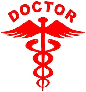 ARWY (Pack of 2) Red Doctor car decal sticker(14.5Cm X 15.5 Cm)