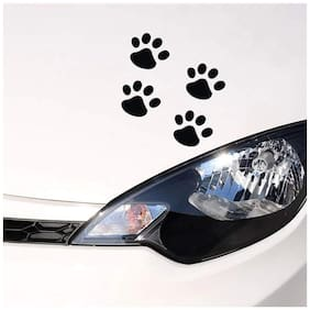 ARWY Stylish Bear Paw Pet Animal Funny Dog Footprints Emblem Black Hood, Bumper, Sides Windows, Car Sticker
