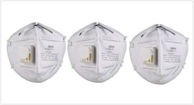 Aryshaa 3M 9004V Particulate Respirator Anti Pollution Mask, White, Pack of 3.