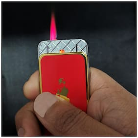 Aryshaa Metal Johnnie Walker Look Design Jet Flame Metal Refillable Cigarette Lighter - RED
