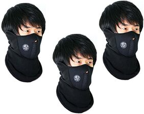 Arysshaa  Neoprene Half Face Bike Riding Mask (Black)pack of 3