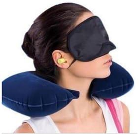 Ascension 3 In 1 Air Travel Kit Combo - Pillow  Ear Buds & Eye Mask(AssortedPillow - Flannelette  Ear Buds - Cotton Foam  Eye Mask - Polyester)