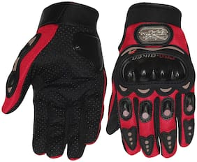 Auslese pro biker Full Finger Leather Motorcycle Riding Racing Biking Driving Motorcycle Gloves -  ( Red  M)