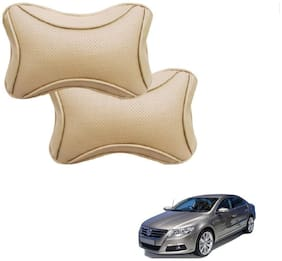 Auto Addict Dotted Beige Neck Rest Cushion Pillow Set Of 2 pc For Volkswagen Passat