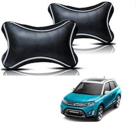 Auto Addict Dotted Black Neck Rest Cushion Pillow Set Of 2 pc For Maruti Suzuki Vitara Brezza