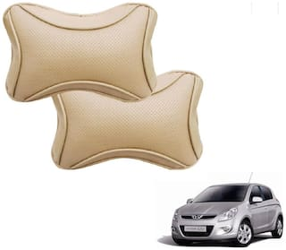 Auto Addict Dotted Beige Neck Rest Cushion Pillow Set Of 2 pc For Hyundai Old i20 (2008-2014)