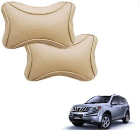 Auto Addict Dotted Beige Neck Rest Cushion Pillow Set Of 2 pc For Mahindra XUV 500