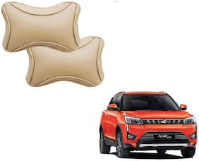 Auto Addict Dotted Beige Neck Rest Cushion Pillow Set Of 2 pc For Mahindra XUV 300