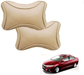 Auto Addict Dotted Beige Neck Rest Cushion Pillow Set Of 2 pc For Honda Idtec (2014-Present)