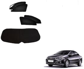 Auto Addict Zipper Magnetic Sun Shades Car Curtain With Dicky For Fiat Linea (Black)