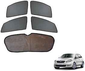 Auto Addict Car Half magnetic sunshade curtains with Dicky set of 5 pcs for Skoda Rapid