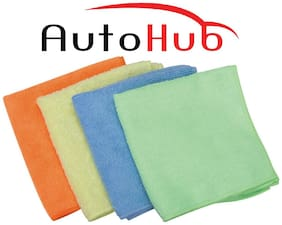 Auto Hub MicroFibre Car Cleaning Cloths - Pack of 4