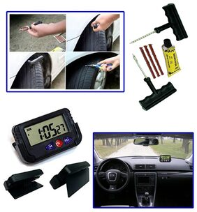 Auto Pearl - Combo Of 6 Pieces Car Bike Tyre Puncture Kit And Dash Board Clock