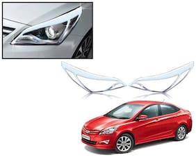 Auto Pearl-Premium Quality Chrome Plated Head Light Cover For-Hyundai Verna 2015