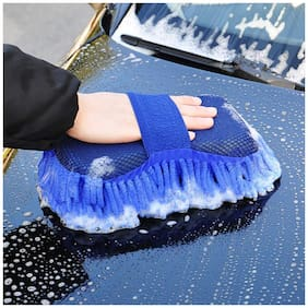Auto Ryde Microfiber cleaning Cloth Sponge Hand Gloves car dashboard cleaning chenille - Random Color ( 1pc.