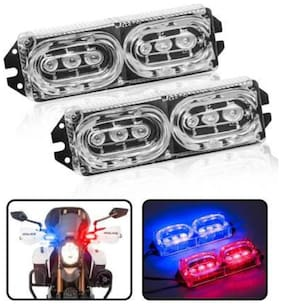 Auto Ryde Police Light/Flasher Light/Bike Style Light for All Two-Wheeler and Cars (Pack of 2, Red and Blue)