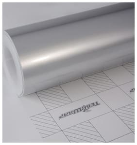 AutoBizarre 24x100 inch Metallic Silver Vinyl Car Wrap Sheet Roll Film Sticker Decal For Car & Bike Both