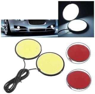 AutoBizarre Car LED DRL Round Cob Lights White Color Fog Lights Day Time Running Lights