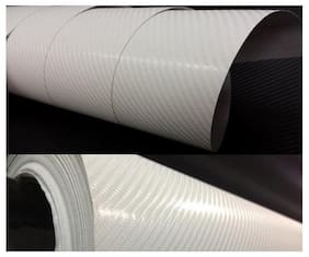 AutoBizarre 24x24 inch 3D White Carbon Fiber Vinyl Car Wrap Sheet Roll Film Sticker Decal For Car & Bike Both